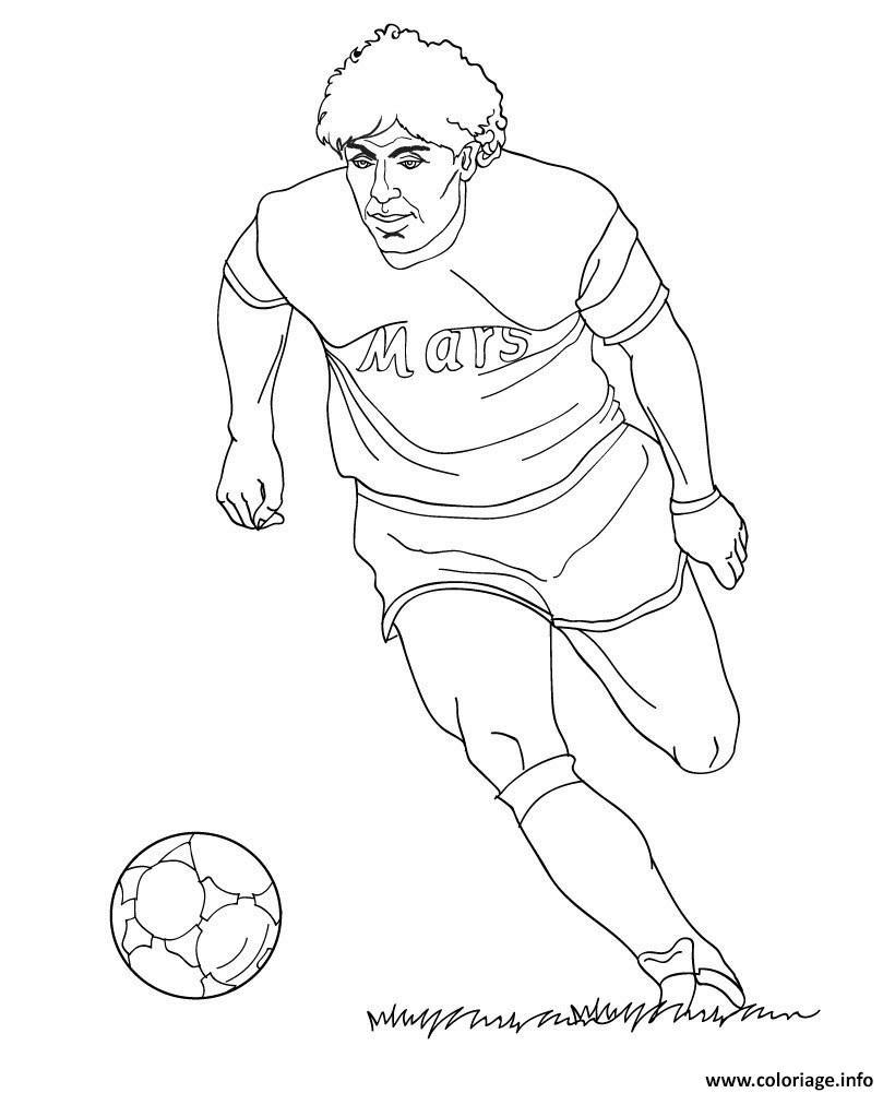 Coloriage Diego Maradona Joueur De Foot Dessin  Imprimer