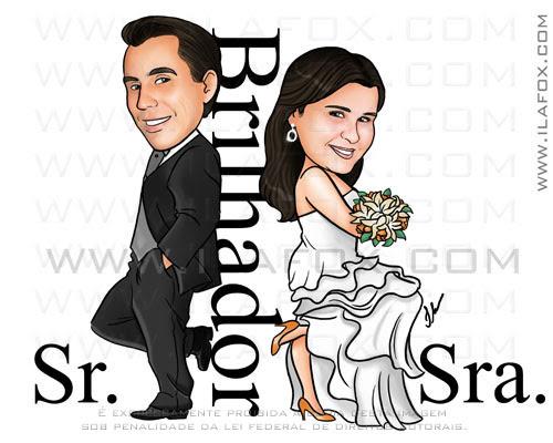 Caricatura para casamento, caricatura sr e sra smith, Brilhador, caricatura noivinhos, by ila fox