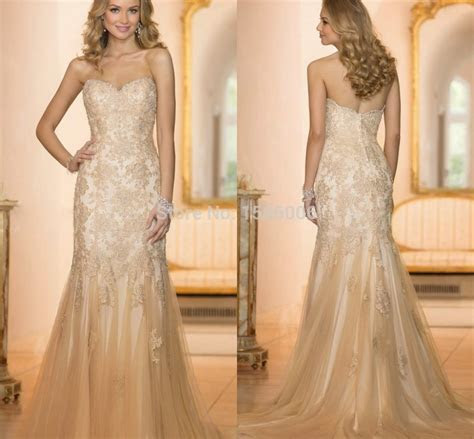 Champagne Color Sweetheart mermaid Tulle Wedding Gowns New