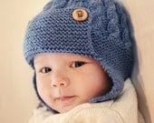 Cabled Baby aviator hat Knitting Pattern DAYTON Instant Download