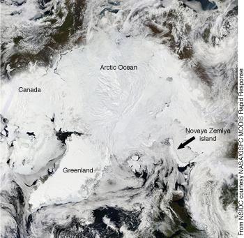 MODIS image of Arctic ocean