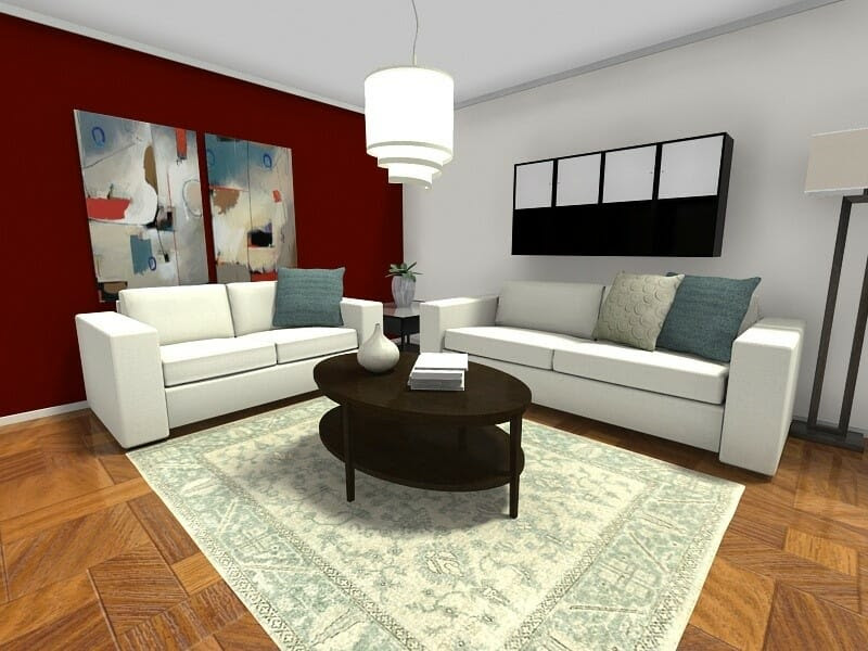 Small Room Ideas Living Room Furniture Layout Dark Red Accent Wall
