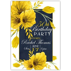Vintage Blue Yellow Floral 50th Birthday Invitations