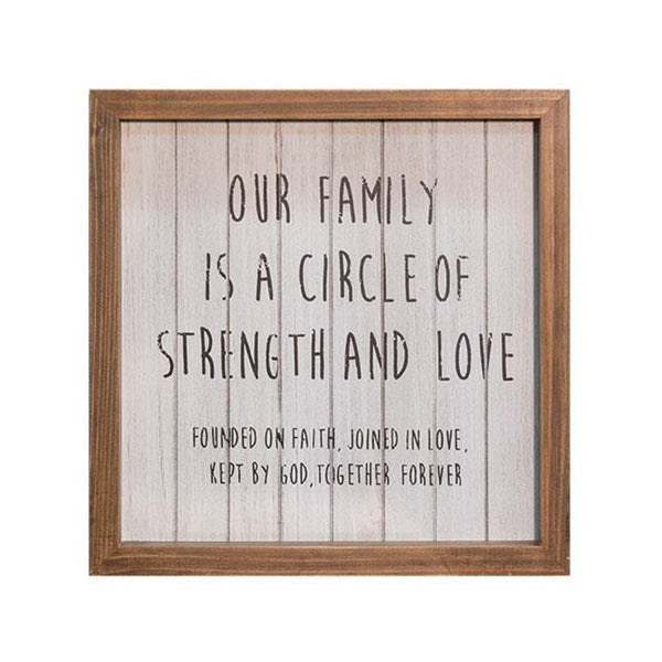Our Family Circle Of Strength And Love Framed Faith Sign The
