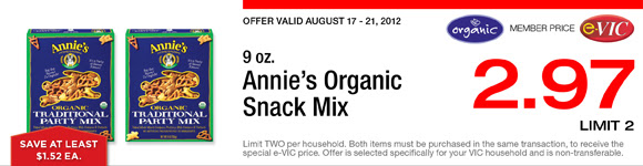 Annie's Organic Snack Mix - 9 oz : eVIC Member Price - $2.97 ea - Limit 2