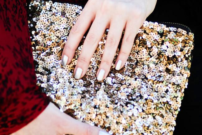 Zara gold sequin clutch, Fashion bag, Style, Metallic Silver nail polish