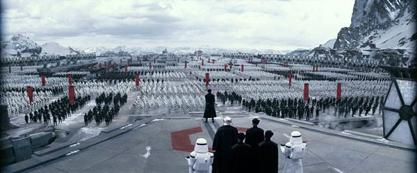 The evil First Order gathers for a rally in this scene from STAR WARS: THE FORCE AWAKENS.