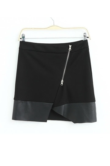 Irregular Cutting Skirt with Zipper