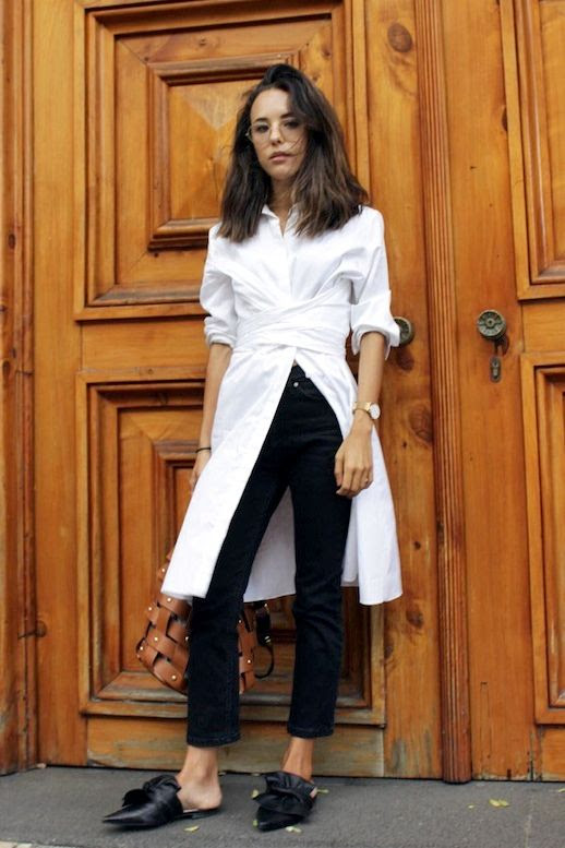 Le Fashion Blog Blogger Style Black And White Office Look Long Wrap Button Down Shirt Brown Woven Leather Bag Black Jeans Knotted Pointed Toe Mule Flats Via @deborabrosa