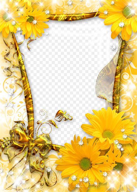 picture frame flower sunflower gold frame png