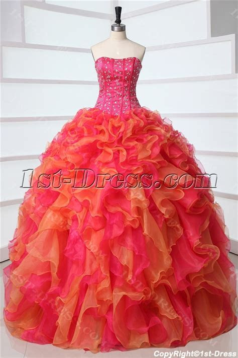 Fashion Multi color Rainbow Quinceanera Dresses:1st dress.com