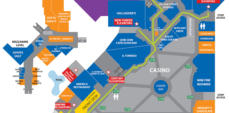 New York New York Las Vegas Hotel Map