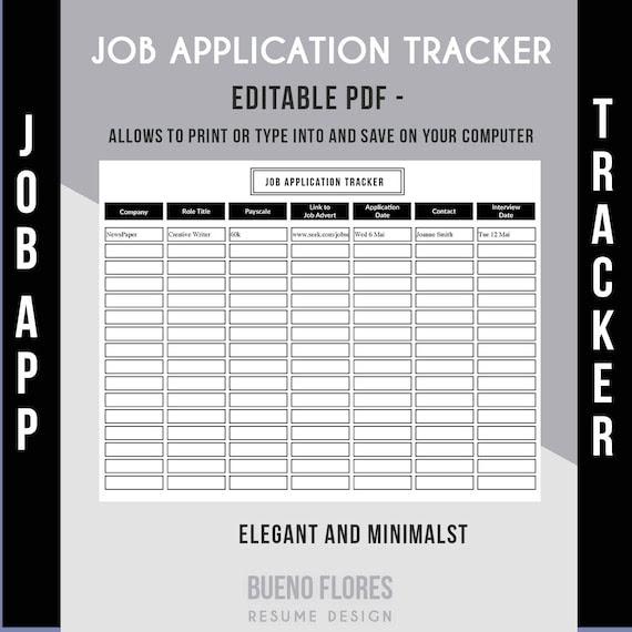 Job Application Tracker Job Application Log / Editable & by ...