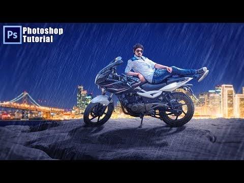 Night City Rain effects Photoshop Tutorial ! Bike and Boy