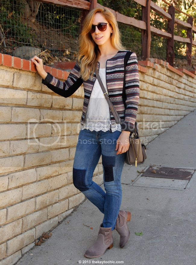 L.A. fashion blogger The Key To Chic wearing H&M jacquard jacket, patchwork jeans, Phillip Lim for Target taupe mini satchel, and Aldo Bibbs boots