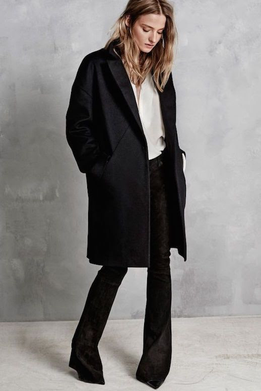 Le Fashion Blog Hunky Dory FW AW 2015 Lookbook Black Coat Crepe Shirt Suede Flare Pants Pointed Heels Fall Winter Style