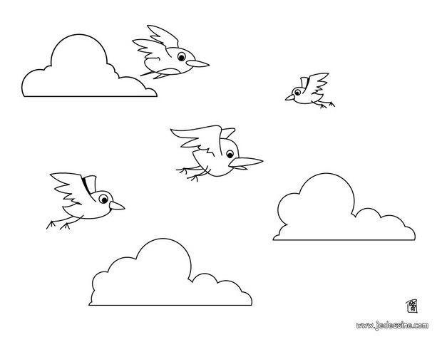 Coloriages Coloriage De Plusieurs Oiseaux En Vol Frhellokidscom