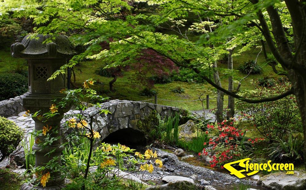 Garden With Stone Bridge Patio Screen-212 Series 80% ...