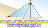 Problem 414: Triangle, Angles, Altitude, Median, Congruence.