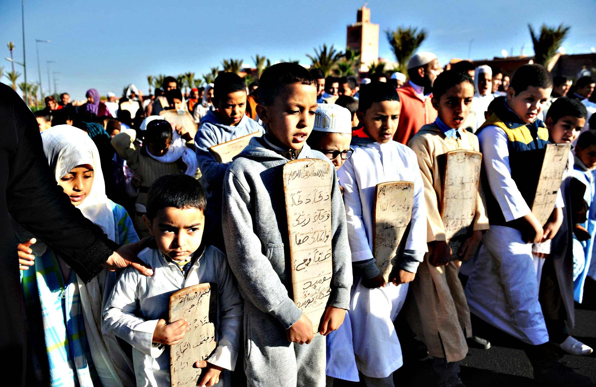 Young Moroccans pray for rain, Marrakesh, Morocco, 11 December 2015. The King of Morocco, Mohammed VI, called on the faithful to pray for rain in the Kingdom, which is suffering from a severe drought as a result of the depletion of the water table and is severly affecting agriculture in the country, forcing people to move to cities in search of work