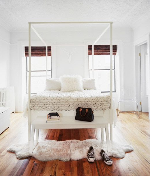 LE FASHION BLOG INTERIOR HOME POST BROOKLYN APARTMENT BRYN SANDERS ARNEL ANDRADA MICHELLE ADAMS PATRICK CLINE SMALL SPACE LONNY MAGAZINE RESTORATION HARDWARE MOROCCAN CANOPY BED BEDROOM INSPIRATION WHITE WALLS WOODEN CURTAINS CROCHET BLANKET MONGOLIAN FUR THROW PILLOW SHEEP SKIN RUG CLEAR CHAIR LOW SIDE BOARD CONVERSE CHUCK SNEAKERS LOUIS VUITTON SPEEDY VINTAGE BAG 3 photo LEFASHIONBLOGINTERIORHOMEPOSTBROOKLYNSMALLSPACE3.jpg