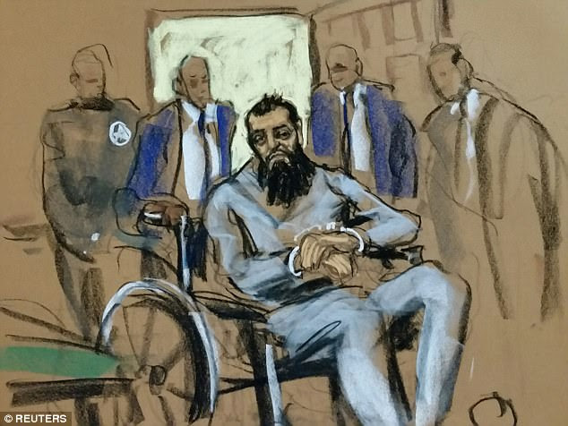 The Muslim immigrant from Uzbekistan (above in court sketches) accused of carrying on Tuesday's terror attack in Manhattan entered court Wednesday evening in a wheelchair, handcuffed and with his feet shackled, to face terrorism charges filed against him by the US Attorney for the Southern District of New York