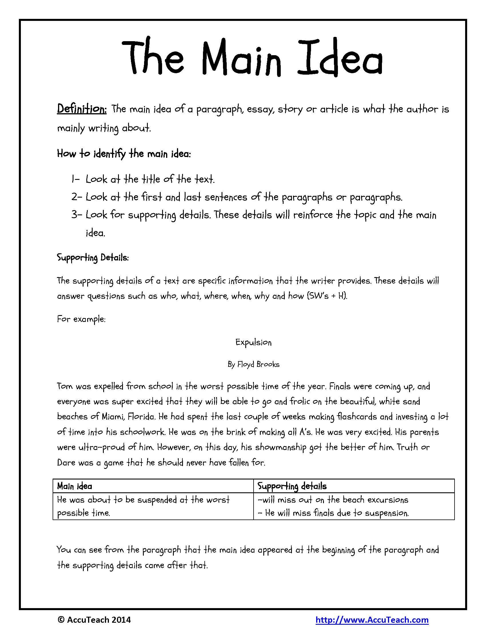 Reading Comprehension Strategy Main Idea