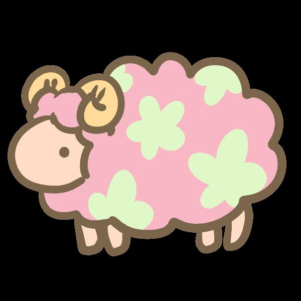 お花模様の羊ピンクのイラスト かわいいフリー素材が無料の