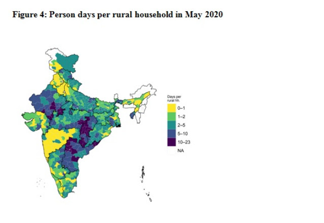 Notes and Source: Authors' calculations based on MIS data for May 2020 and Census 2011. Excludes districts that do not have a consistent series, district boundaries of 2011. Urban districts in the map are coded as NA. Bardhaman, Balrampur, Puducherry are set to 0 due to incomplete data.