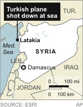 Map locates Latakia, close to where a Turkish plane was shot down by Syria. (AP)