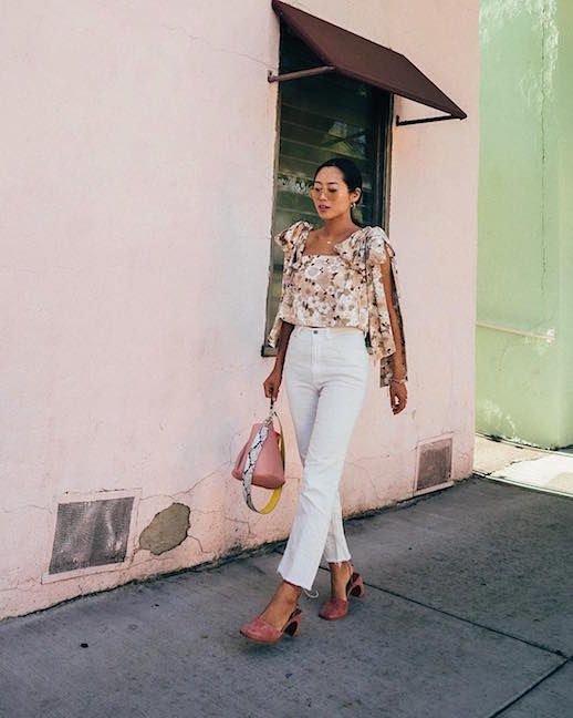 Le Fashion Blog Pink Floral Blouse White Jeans Blush Pink Heels Via @Songofstyle