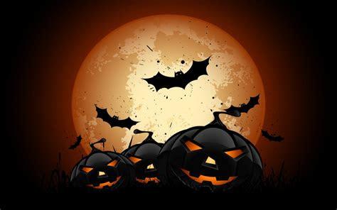 wallpaper halloween black pumpkins moon bats artwork moon dark wallpapermaiden