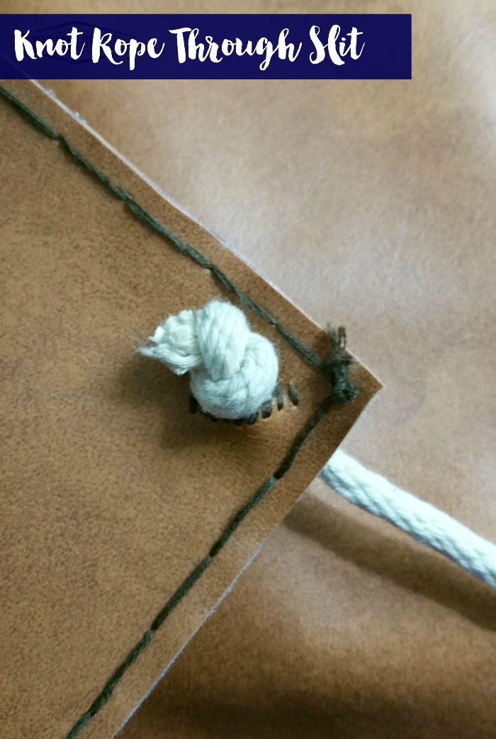 stitch the edges of slit and tie knot to end of rope