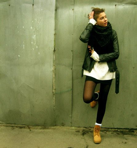 Levis Jacket, Timberland Boots - The coldest autumn - Alina Galaktionova