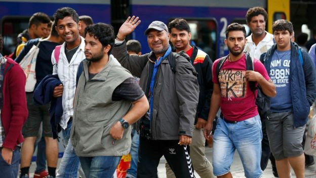 Migrants arrive in Munich
