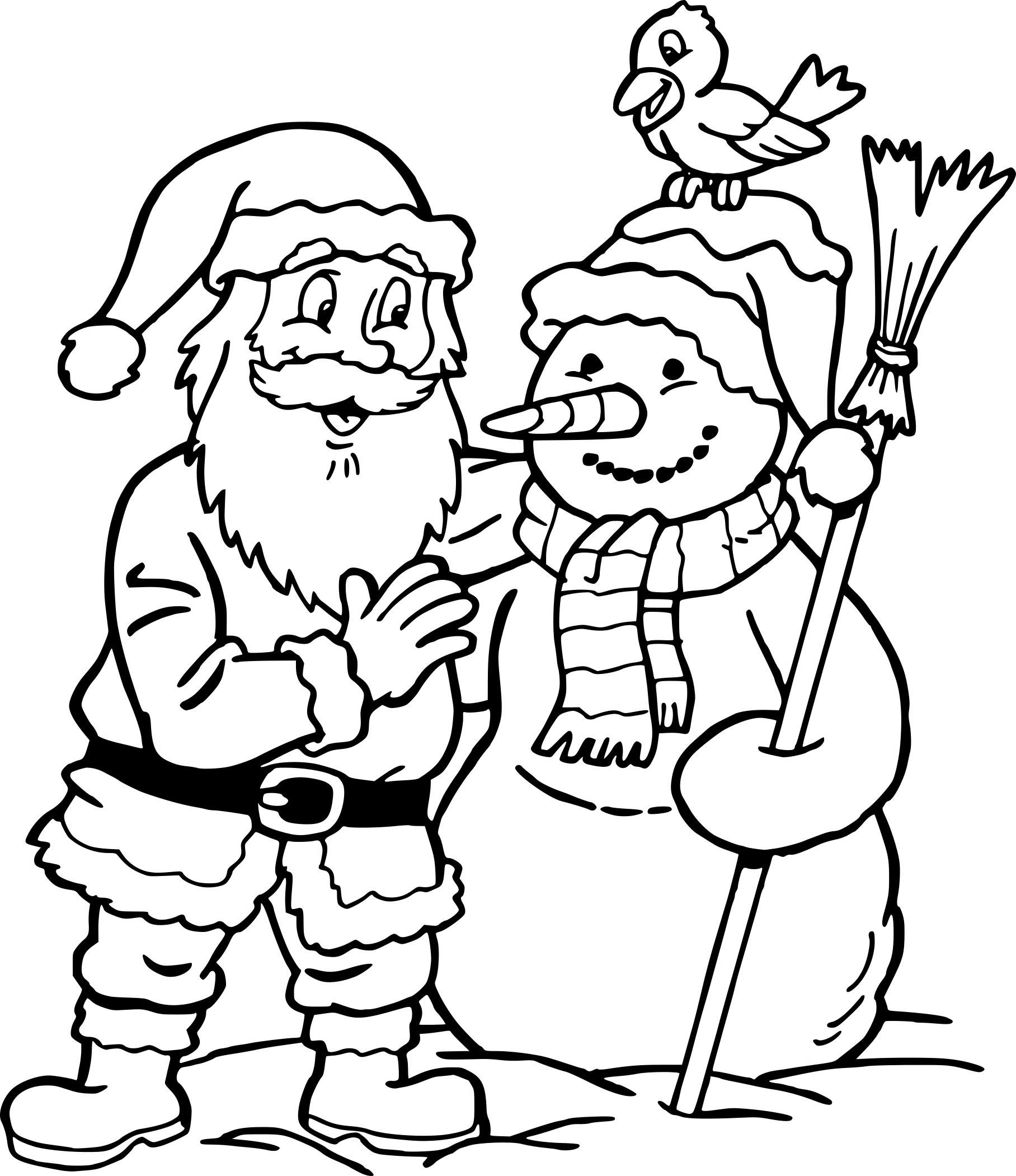 Coloriage Père Noël Et Bonhomme De Neige à Imprimer Gratuit