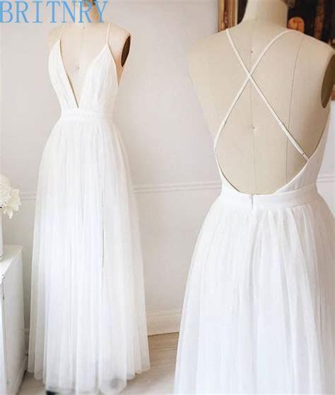 Summer Simple Wedding Dresses V Neck Backless Sexy Beach