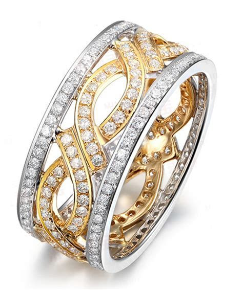 1 Carat Antique Diamond Wedding Ring Band in Two Tone