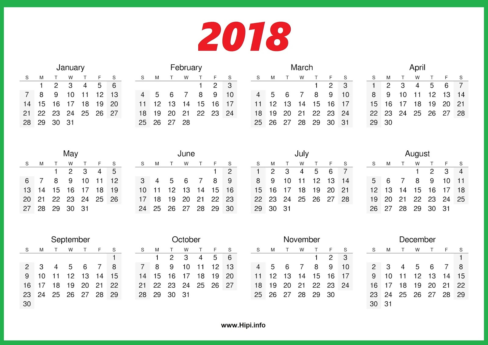 2018 Calendar One Page