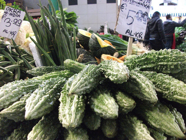 "Bitter gourds, or ""ampalayas"", are difficult to find in Italy, but easy to find in the Esquilino market in Rome. Credit: Maged Srour/IPS"
