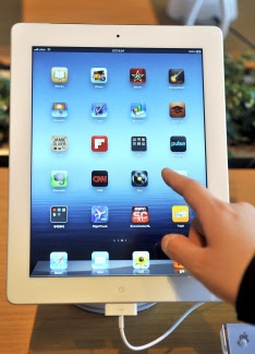 Apple's new iPad is displayed at a branc