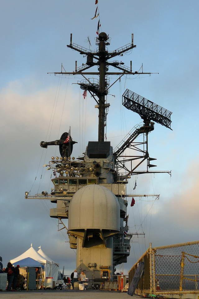"""The command """"Island"""" rises above the Hornet's flight deck"""