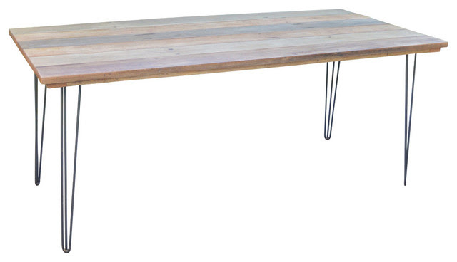 Reclaimed Wood Hairpin Leg Dining Table, 33x48  Industrial  Dining Tables  by Local Timber