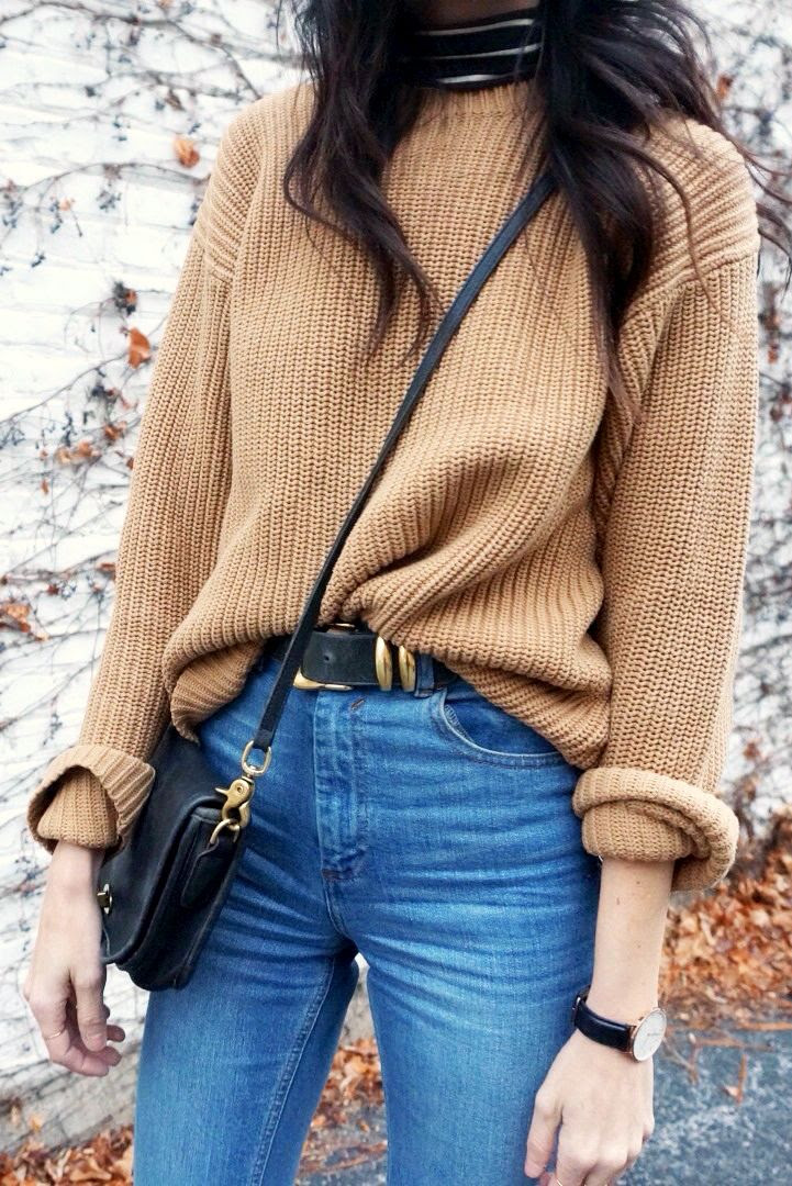 Le Fashion Camel Sweater Fall Winter Style Striped Turtleneck Crossbody Bag Black Gold Round Watch High Waisted Jeans Long Wavy Hair Via If You Seek Style