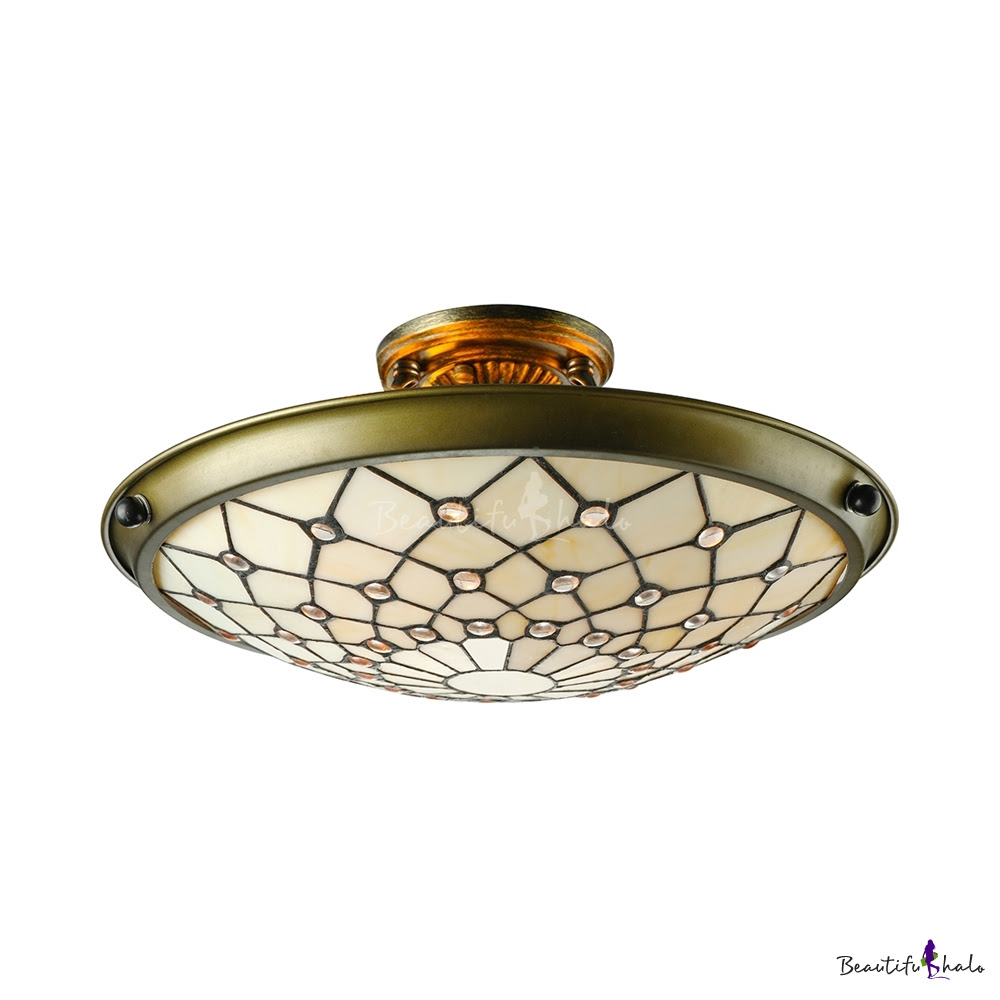 beige stained glass tiffany threelight semi flush mount ceiling light