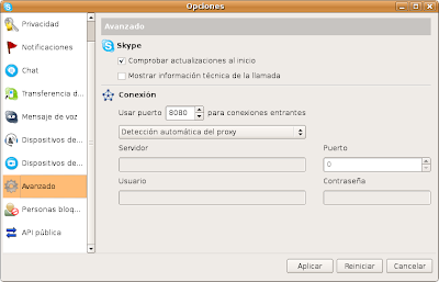 Configuracion de Proxy en Skype