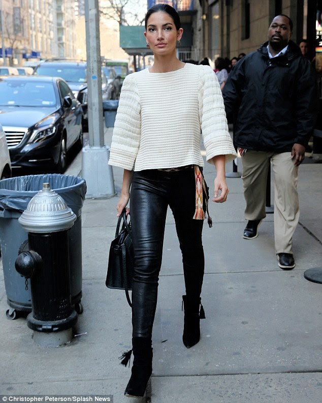 So sleek: Lily, who had her dark hair slicked back this time, stopped by The Wendy Williams Show