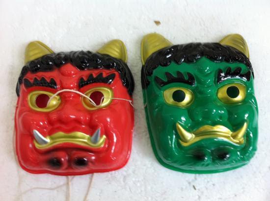 お面マスク 赤鬼 2緑鬼 1 小プラスチック製大人