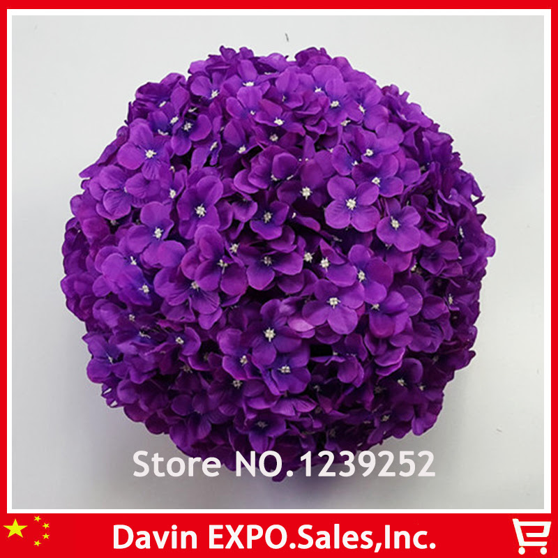 Aliexpress.com : Buy NEW 10 Pcs 23 cm Purple Artificial Hydrangea Silk Flowers Ball Kissing Ball
