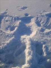 mom butted snow angel